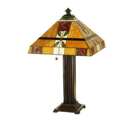 Tiffany Style Mackintosh Rose AampC Table Lamp QVC