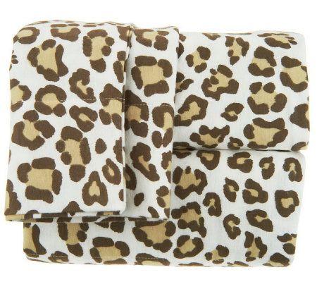 northern nights animal print fl 100 cotton flannel sheet. Black Bedroom Furniture Sets. Home Design Ideas