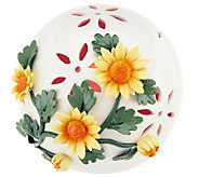 Porcelain Ball with Flowers and Flameless Candle by Home Reflections - H202275