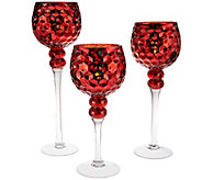 Set of 3 Hobnail Glass Goblets with Tealights by Valerie - H203675
