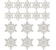 Set of 16 Glittered Wood Snowflake Ornaments - H206675
