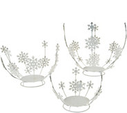 Set of 3 Glittered Metal Snowflake Holders by Valerie - H211575
