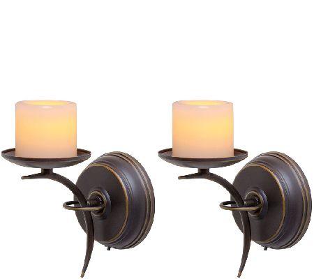 Candle Impressions Set of 2 Single-Arm Sconces - Page 1 QVC.com