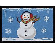 Nourison Everywhere 18 x 26 Christmas Snowman Blue Rug - H293075