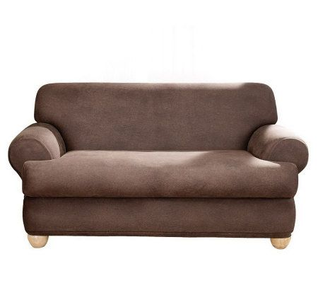 Sure fit stretch faux leather t cushion loveseat slipcover for Faux leather loveseat slipcover