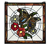 Tiffany Style 20 Butterfly Floral Stained Glass Window Panel - H181376