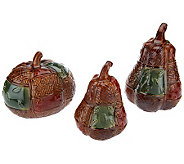 3-piece Patchwork Ceramic Pumpkins - H200876