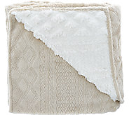 Berkshire Blanket Cable Stitch Faux Mink/Sherpa 50 x 70 Throw - H206376