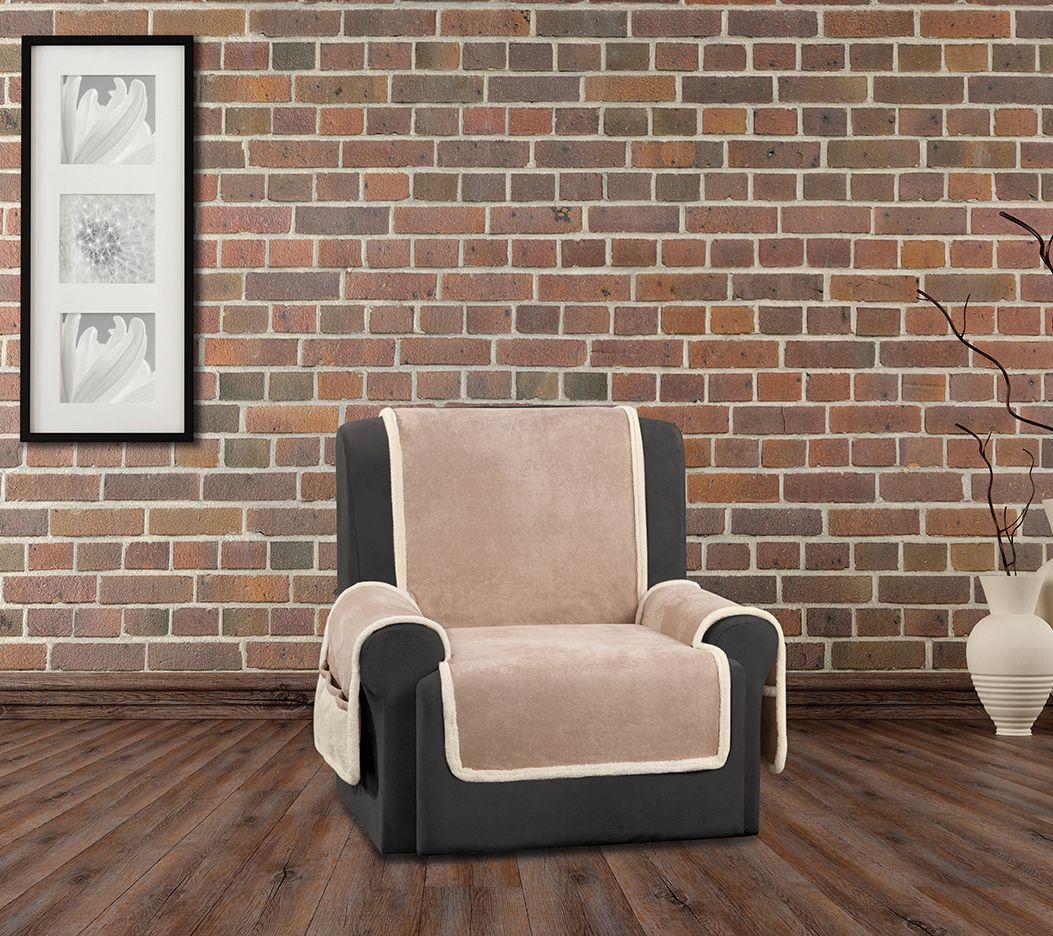 Sure Fit Vintage Leather Recliner Furniture Cover w Sherpa Back Page 1 — Q