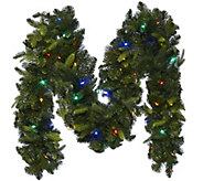 As Is BethlehemLights 9 Mixed Greens Prelit Holiday Garland - H210476