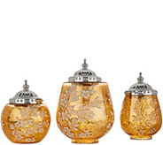 Set of 3 Illuminated Floral Mercury Glass Jars by HomeReflections - H210776