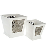 Set of 2 Nesting Planters with Leaf Motif and Liners - H210876