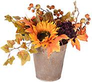 14 Harvest Hydrangea, Sunflower and Pumpkin Centerpiece - H212676
