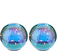 Set of (2) 6 Illuminated Iridescent Crackle Spheres by Valerie - H213776