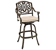 Home Styles Floral Blossom Taupe Swivel Stool - H284376