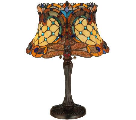 Meyda Tiffany Style Hanginghead Dragonfly TableLamp QVC