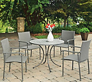 Umbria Concrete Tile 5-Piece Round Outdoor Table & 4 Chairs - H291776