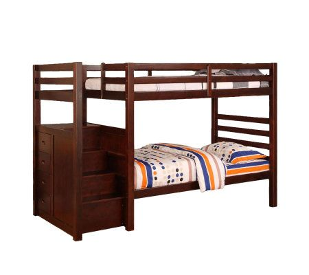 Pine ridge twin twin bunk bed w built in steps drawers - Bunk bed with drawer steps ...