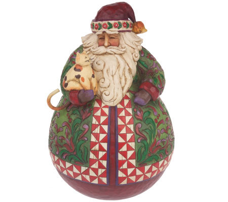 "Jim Shore Heartwood Creek 10"" Roly Poly Santa Figurine"