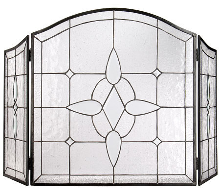 Handmade Stained Glass Fireplace Screen by David Shindler