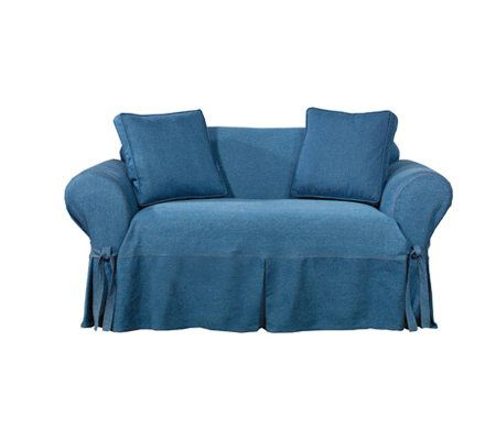 Sure Fit Indigo Denim Sofa Slipcover Qvc Com
