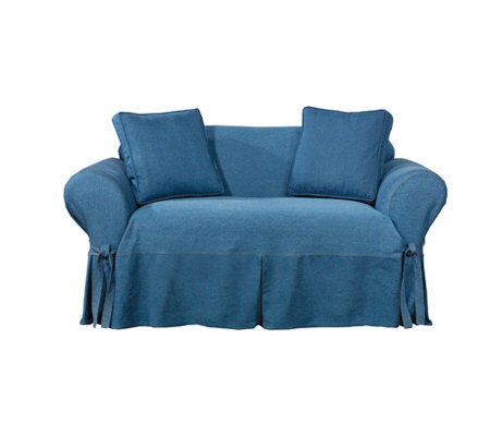 Sure fit indigo denim sofa slipcover Denim couch and loveseat