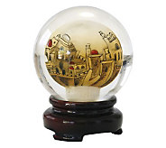 Copa Judaica Golden Jerusalem Crystal Paperweight & Stand - H144877