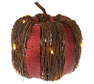 Bethlehem Lights 14 Battery Op. Metal & Rattan Harvest Pumpkin - H200477