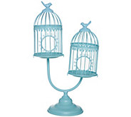 Double Metal Birdcages on Pedestal by Valerie - H202377