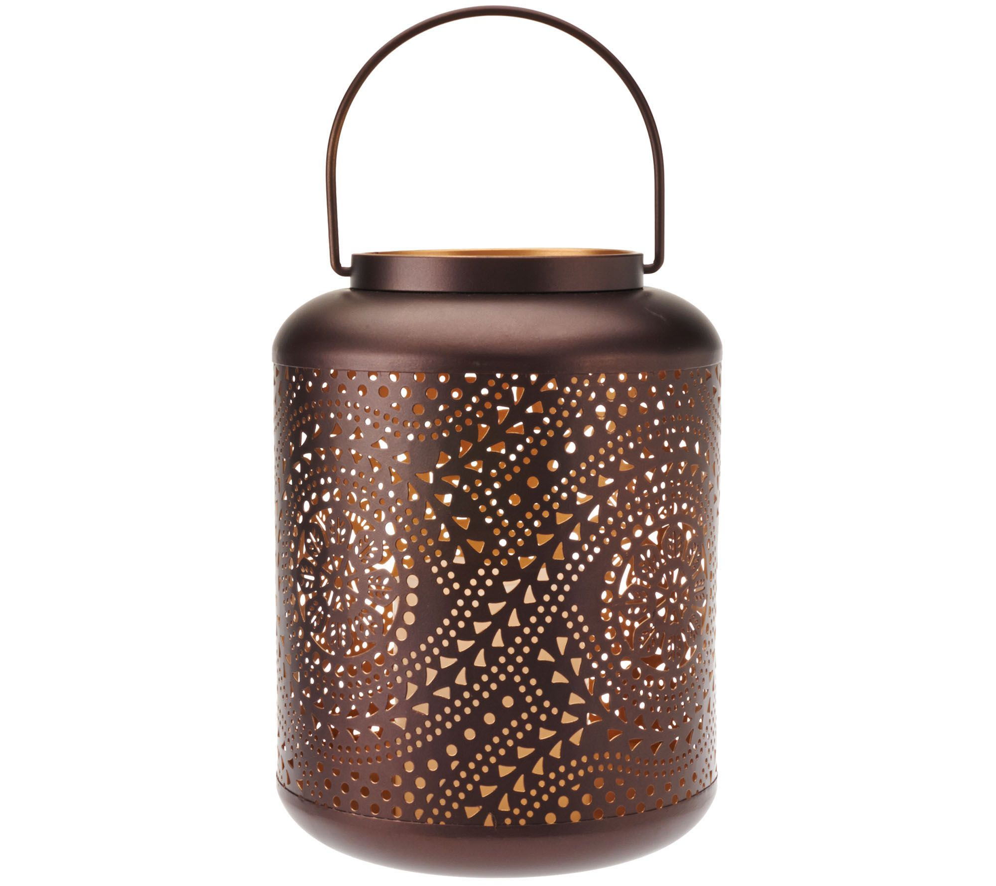"9"" Punched Pattern Metal Lantern by Home Reflections"