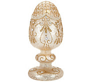 Illuminated Mercury Glass Egg on Pedestal by Home Reflections - H210777