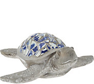 Indoor/Outdoor Blue and White 17 Mosaic Turtle - H210877