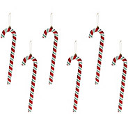As Is Set of 6 13 Candy Cane Ornaments by Valerie - H211177