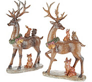 Set of 2 Glistening Deer with Woodland Animals by Valerie - H211377