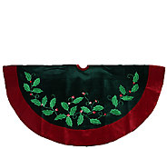 48 Velvet Holly Branch Applique Tree Skirt by Northlight - H286877