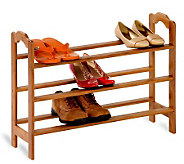 Honey-Can-Do Adjustable 3-Tier Bamboo Shoe Rack - H184078