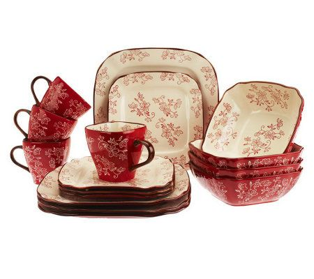 Temp Tations Fl Lace 16 Piece Square Dinnerware Set Page 1  sc 1 th 212 & Red Square Dish Sets - Home Ideas
