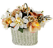 Bethlehem Lights 12 Battery Op. Whitewashed Floral Basket - H202378
