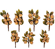 7-Piece Glittered and Beaded Rosehip Leaf Clips - H203478