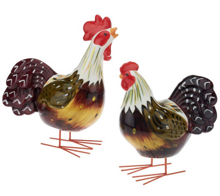 2 Piece Rocking Rooster And Hen By Valerie H203778 Qvc Com