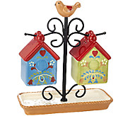 Birdhouse Salt & Pepper Shakers with Holder by Valerie - H204778