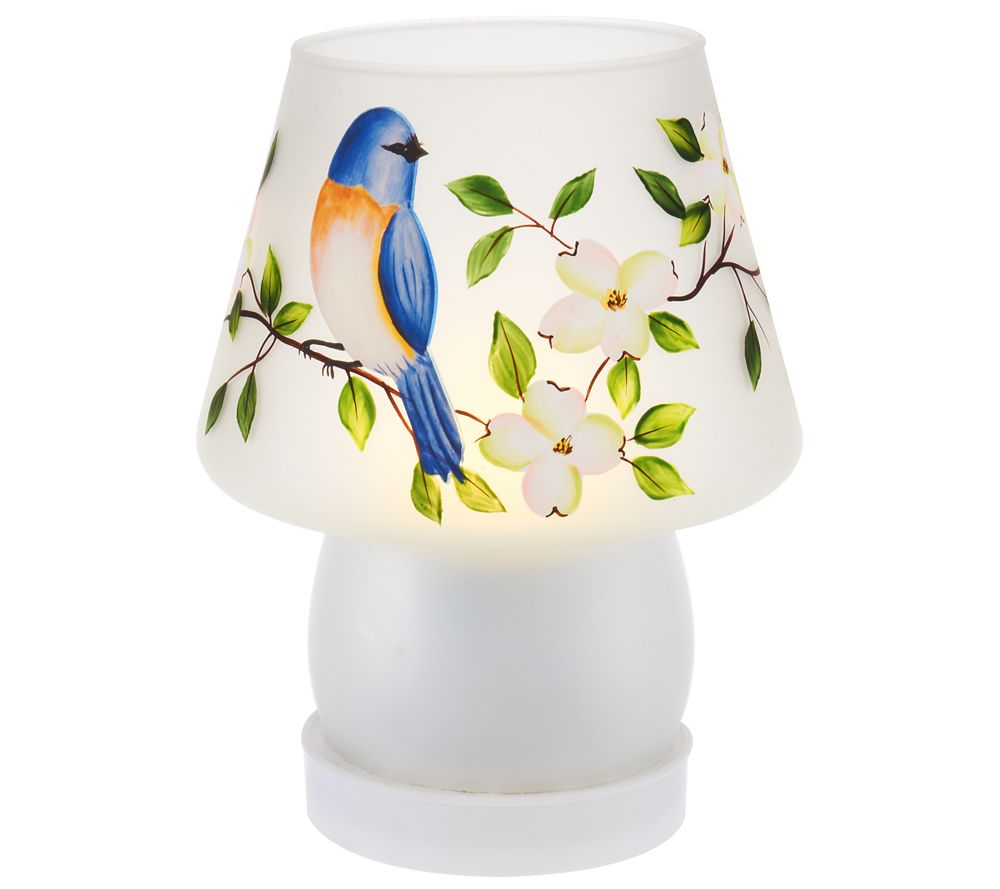 Superior Handpainted Frosted Glass Battery Operated Lamp By Valerie   Page 1 U2014 QVC .com