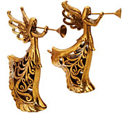 Set of 2 9.5 Trumpeting Angel Figurines with Scroll Design - H209078