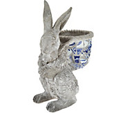 Indoor/Outdoor Blue and White 12 Mosaic Bunny - H210878