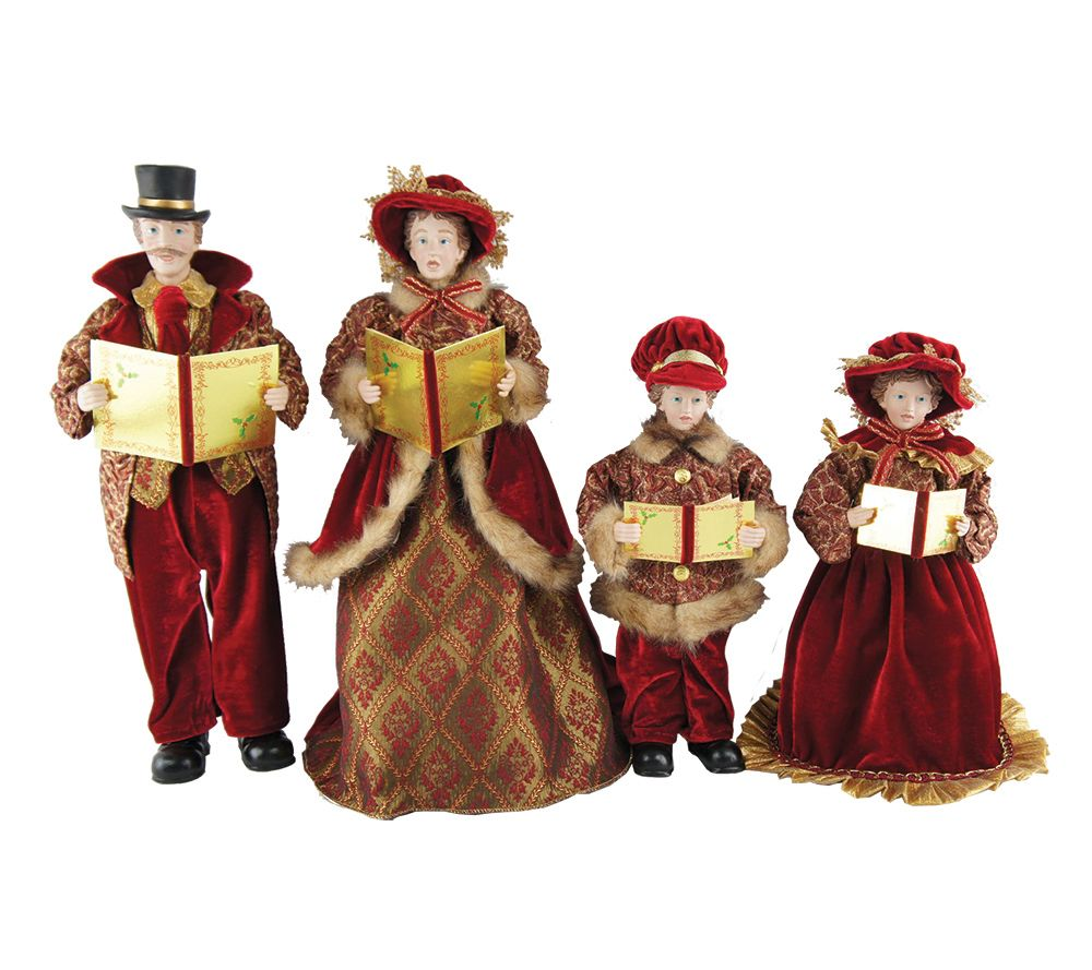 "Victorian Christmas Carolers Figurines: Set Of 4 15"" To 18"" Victorian Carolers By Santa's Workshop"