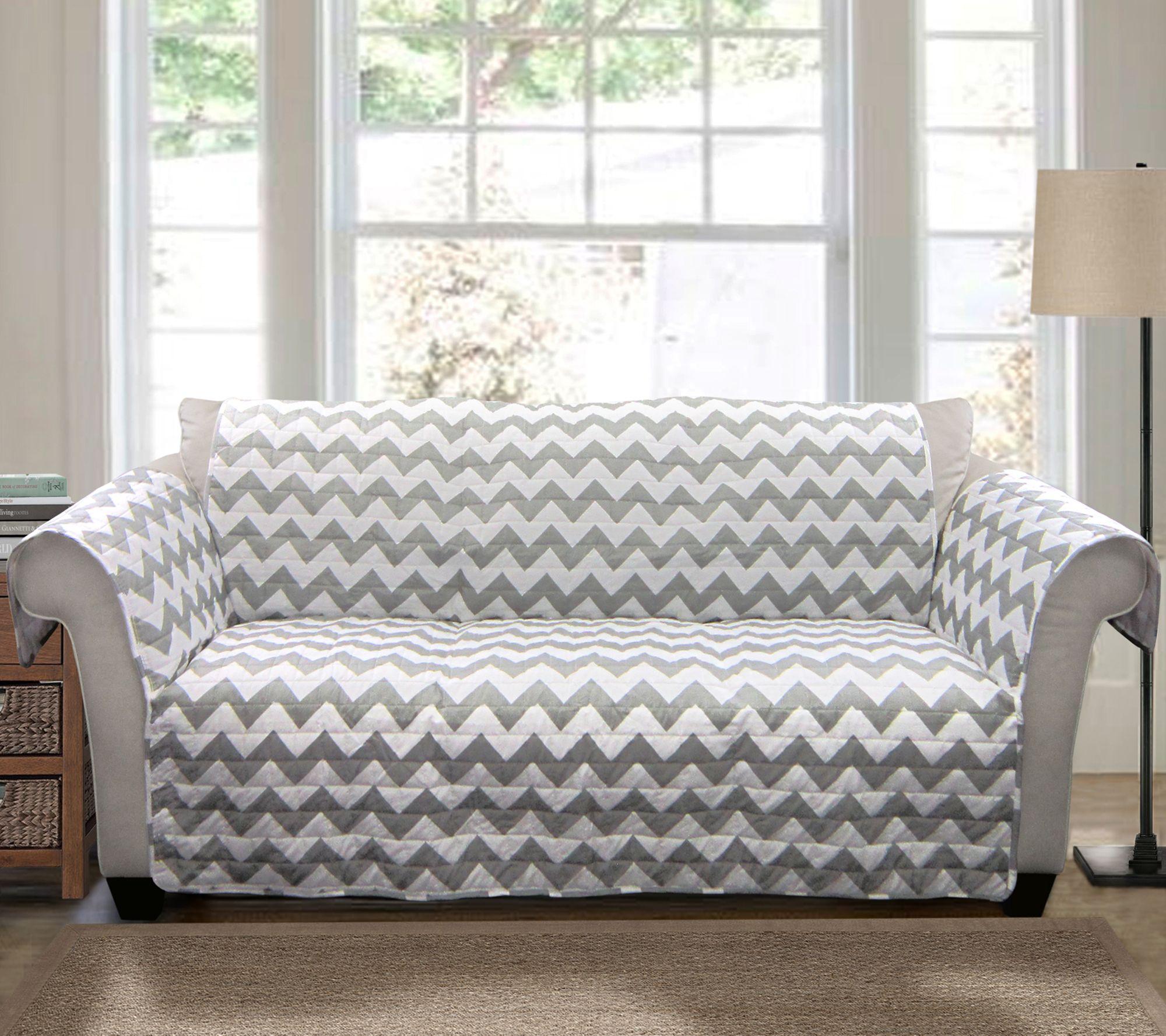 Gray Chevron Love Seat Furniture Protector by Lush Decor — QVC
