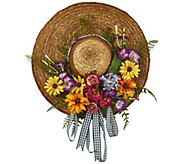 Mixed Flower Hat Wreath by Nearly Natural - H295578