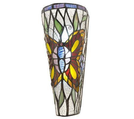 Stained Glass Battery Operated 11-inch Wall Sconce - Page 1 QVC.com
