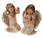 2-piece Vintage Frosted Holiday Figures by Valerie - H201179