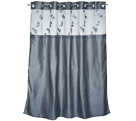Hookless Serena 3 In 1 Shower Curtain With Floral Applique